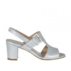 Sandale avec elastique et boucle pour femmes en cuir lamé argent talon 6 - Pointures disponibles: 32, 33, 34, 42, 43, 44, 45