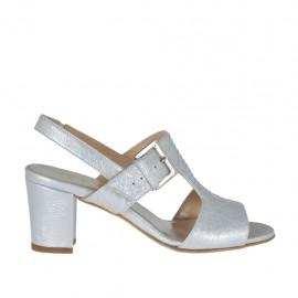 Sandalo con elastico e fibbia da donna in pelle laminata argento tacco 6 - Misure disponibili: 32, 33, 34, 42, 43, 44, 45