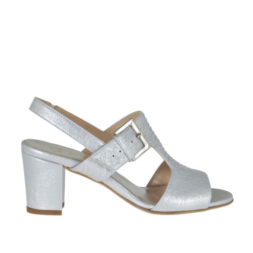 Woman's sandal with elastic and buckle in silver laminated leather heel 6 - Available sizes:  42, 43, 45