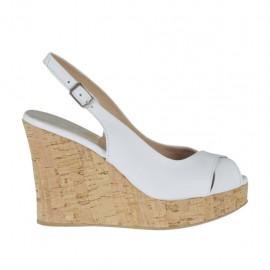Sandale pour femmes en cuir blanc talon compensé 10 - Pointures disponibles: 31, 32, 33, 34, 42, 43, 44, 45