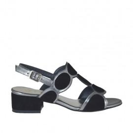 Sandalo da donna in camoscio nero e pelle laminata grigia tacco 3 - Misure disponibili: 32, 33, 34, 42, 43, 44, 45