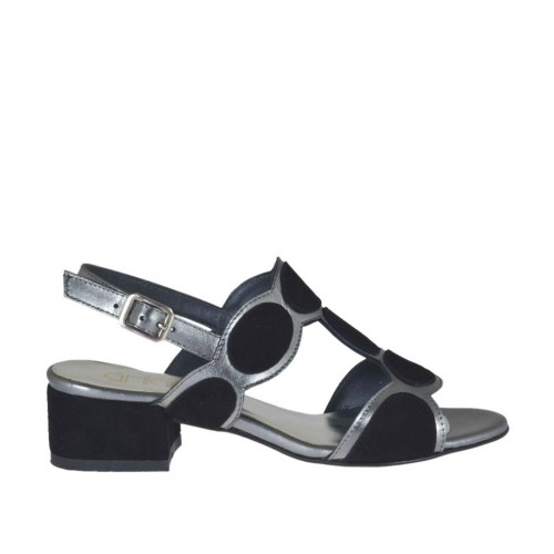 Woman's sandal in black suede and grey laminated leather heel 3 - Available sizes:  43, 44