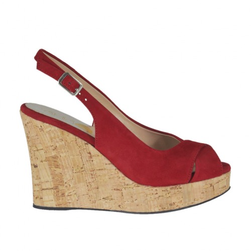 Woman's sandal in red suede wedge heel 10 - Available sizes:  32, 33, 42
