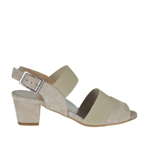 Sandalo da donna con elastici in camoscio beige tacco 4 - Misure disponibili: 32, 33, 34, 43, 45