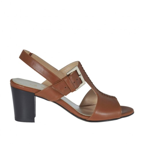 Woman's sandal with elastic and buckle in tan brown leather heel 6 - Available sizes:  45