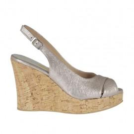 Sandale pour femmes en cuir taupe lamé platine talon compensé 10 - Pointures disponibles: 31, 32, 33, 34, 42, 43, 44, 45