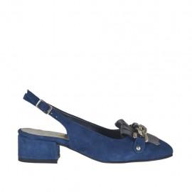 Damenchanel mit Fransen und Kette aus blauem Wildleder und grauem laminiertem Leder Absatz 3 - Verfügbare Größen: 32, 33, 34, 42, 43, 44, 45