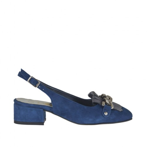 Woman's slingback pump with fringes and chain in blue suede and laminated grey leather heel 3 - Available sizes:  32, 44, 45