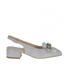 Chanel para mujer con flecos y cadena en gamuza gris y piel laminada plateada tacon 3 - Tallas disponibles:  32, 43
