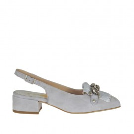 Woman's slingback pump with fringes and chain in grey suede and laminated silver leather heel 3 - Available sizes:  32, 43