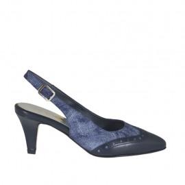 Chanelpump für Damen aus blauem Leder und Jeansstoff Absatz 6 - Verfügbare Größen: 32, 33, 34, 42, 43, 44, 45