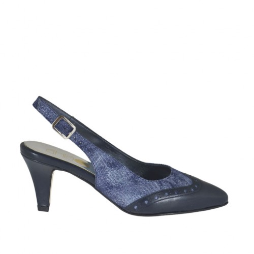Woman's slingback pump in blue leather and denim fabric heel 6 - Available sizes:  32, 33, 34, 42, 43, 44, 45