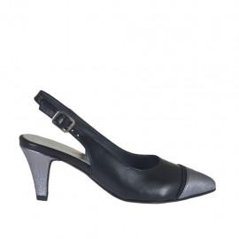 Damenchanelpump mit falschem Riessverschluss aus schwarzem Leder und grauem laminiertem Leder Absatz 6 - Verfügbare Größen: 32, 33, 34, 42, 43, 44, 45