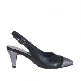 Woman's slingback pump with fake zipper in black leather and grey laminated leather heel 6 - Available sizes:  32, 33, 34, 42, 43, 44, 45