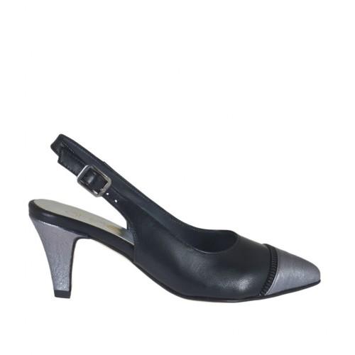 Damenchanelpump mit falschem Riessverschluss aus schwarzem Leder und grauem laminiertem Leder Absatz 6 - Verfügbare Größen:  32, 33, 43, 45