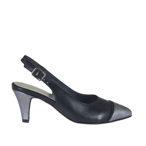 Woman's slingback pump with fake zipper in black leather and grey laminated leather heel 6 - Available sizes:  32, 43