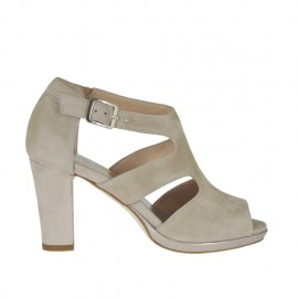 Woman's open platform pump with strap in beige suede with heel 8 - Available sizes: 32, 33, 34, 42, 43, 44, 45