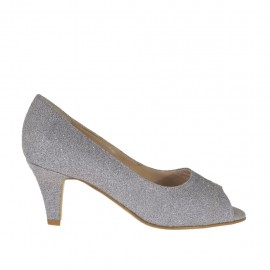 Woman's open toe pump in grey printed glittered leather heel 6 - Available sizes: 32, 33, 34, 42, 43, 44, 45