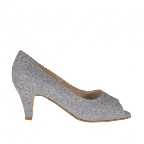 Woman's open toe pump in grey printed glittered leather heel 6 - Available sizes:  33, 43, 45