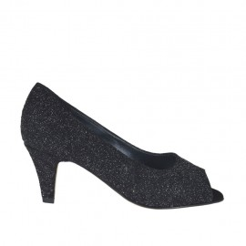 Woman's open toe pump in black printed glittered leather heel 6 - Available sizes: 32, 33, 34, 42, 43, 44, 45