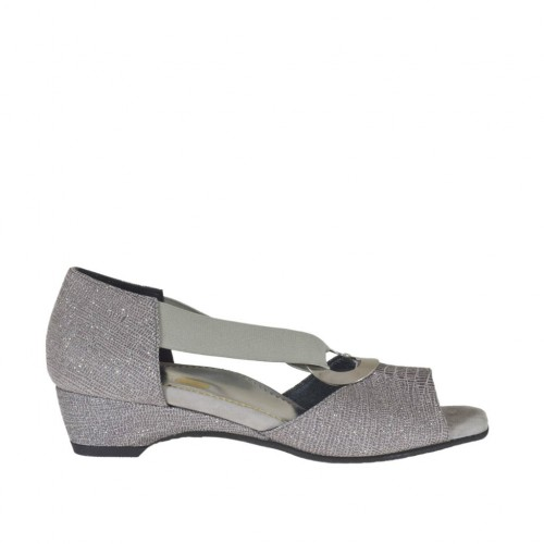 Woman's open shoe with elastic band and metallic ring in grey glittered printed leather wedge 3 - Available sizes:  32, 34, 44, 45