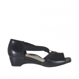Woman's open shoe with elastic band and metallic ring in black leather wedge 3 - Available sizes: 32, 33, 34, 42, 43, 44, 45