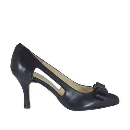Escarpin ouvert pour femmes avec noeud en cuir noir talon 7 - Pointures disponibles: 33, 34, 42, 43, 44