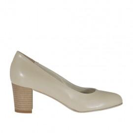 Zapato de salon en piel beis claro tacon 5 - Tallas disponibles:  33, 34, 42, 44, 45