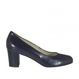 Zapato de salon en piel azul tacon 5 - Tallas disponibles:  33, 34, 43, 44, 45
