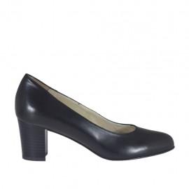 Zapato de salon para mujer en piel de color negro tacon cuadrado 5 - Tallas disponibles:  32, 34, 44, 45