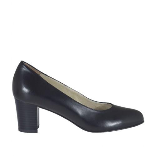 Zapato de salon para mujer en piel de color negro tacon cuadrado 5 - Tallas disponibles:  32, 33, 34, 42, 43, 44, 45