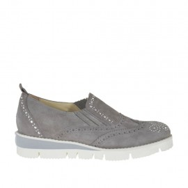 Woman's highfronted shoe with elastics and studs in grey suede wedge 3 - Available sizes: 32, 33, 34, 42, 43, 44, 45