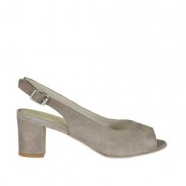 Sandalia para mujer en gamuza gris perla tacon 5 - Tallas disponibles: 32, 33, 34, 42, 43, 44, 45