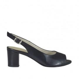 Sandalia para mujer en piel de color negro tacon cuadrado 5 - Tallas disponibles: 32, 33, 34, 42, 43, 44, 45