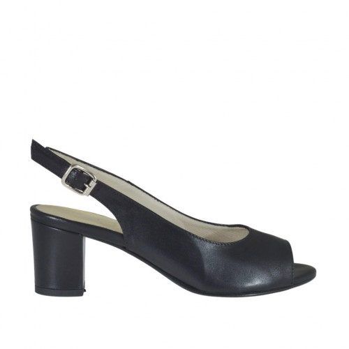 Woman's sandal in black leather block heel 5 - Available sizes:  32