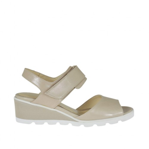 Woman's sandal with velcro strap in powder rose leather wedge heel 4 - Available sizes:  42