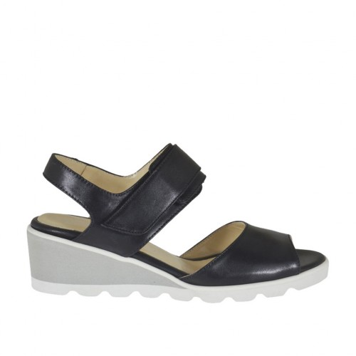 Woman's sandal with velcro strap in black leather wedge heel 4 - Available sizes:  42, 44