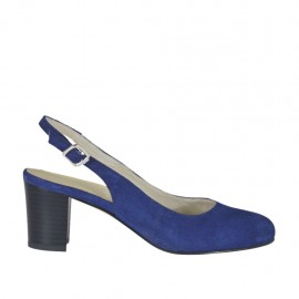 Chanel para mujer en gamuza azul tacon cuadrado 5 - Tallas disponibles:  33, 34, 42, 43, 45
