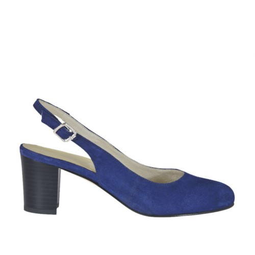 Woman's slingback pump in blue suede block heel 5 - Available sizes:  34, 42, 43