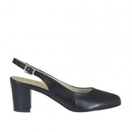 Chanelpump für Damen aus schwarzem Leder Blockabsatz 5 - Verfügbare Größen: 32, 33, 34, 42, 43, 44, 45