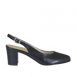 Woman's slingback pump in black leather block heel 5 - Available sizes:  32, 33, 34, 42, 43