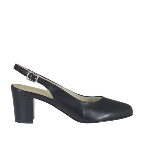 Woman's slingback pump in black leather block heel 5 - Available sizes:  32, 34