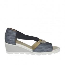 Zapato abierto para mujer con elastico y anillo metalico en piel imprimida blanca y negra cuña 4 - Tallas disponibles: 32, 33, 34, 42, 43, 44, 45
