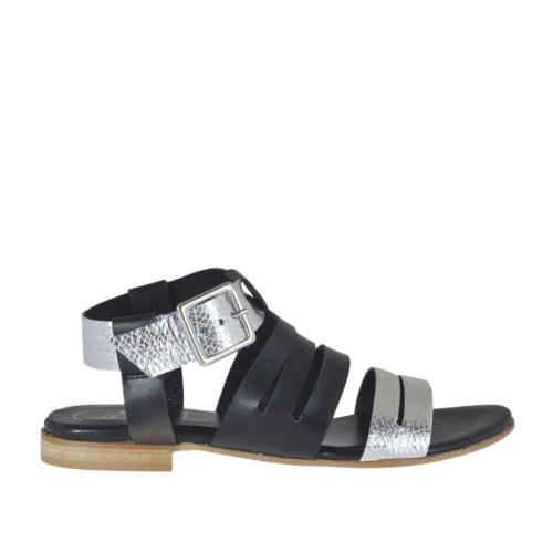 Woman's strap sandal in black and silver laminated leather heel 1 - Available sizes:  33, 42, 43, 44, 45