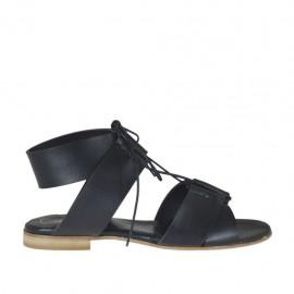 Sandalo stringato da donna in pelle nera tacco 1 - Misure disponibili: 33, 34, 42, 43, 44, 45