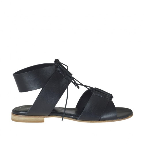 Woman's laced sandal in black leather heel 1 - Available sizes:  33, 42