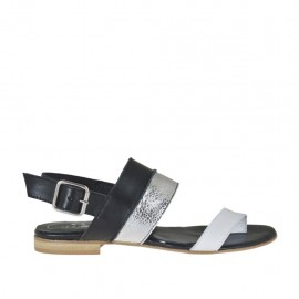 Sandalo infradito da donna in pelle bianca, nera e laminata argento tacco 1 - Misure disponibili: 33, 34, 42, 43, 44, 45