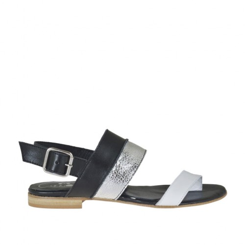 Woman's thong sandal in black, white and silver laminated leather heel 1 - Available sizes:  33, 34, 42, 43, 44, 45