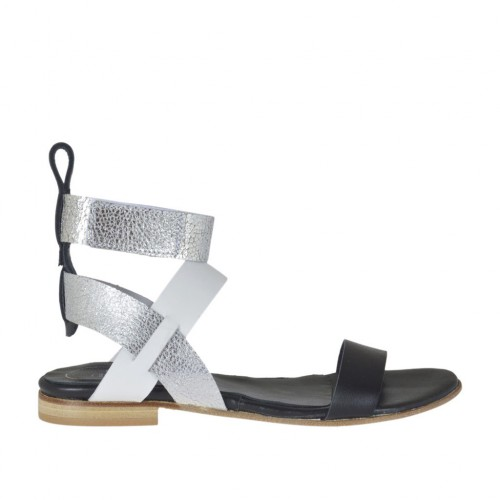 Woman's sandal with velcro strap in black, white and silver laminated leather heel 1 - Available sizes:  34, 42, 43, 44, 45