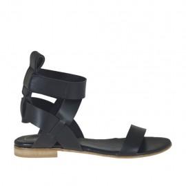 Sandale pour femmes avec velcro en cuir noir talon 1 - Pointures disponibles: 33, 34, 42, 43, 44, 45